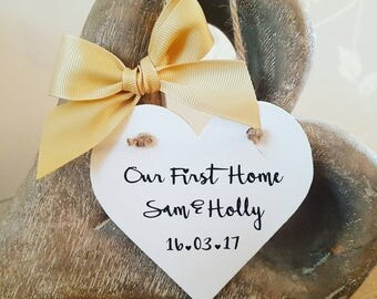 First Home Sign, New Home  Plaque, Heart Sign, Home Décor, New Home Gift, Housewarming Gift