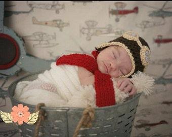 Baby Pilot Hat - Newborn Boy Hat - Newborn Pilot Hat - Newborn Boy Photo Prop - Baby Aviator Hat - Aviation Gifts - Aviation Nursery