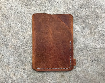 Trifold leather wallet in avancorpo pull-up with grey thread