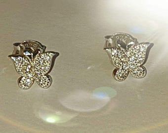 Butterfly  Earrings / Sterling Silver Earrings / Cubic Zirconia AAA Earrings