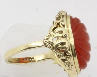 Vintage Antique Art Deco - Retro Chinese Ring 14k Gold Carnelian (#6144)