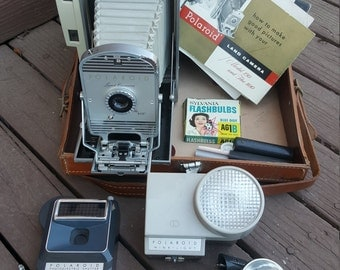 Vintage Polaroid 800 Land Camera with Leather Case and Accessories, Made in USA, Polaroid Camera, Leather Case, Camera Accessories