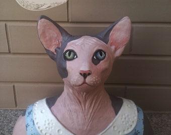 Mss Jasmine-Sphynx cat (paper mache sculpture)-vintage decoration