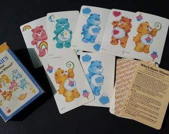 Vintage 1983 Care Bears Which Bear Where Memory Card Game by Parker Brothers Complete