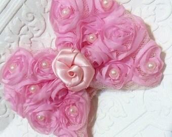 Pink baby headband, baby headband, pink bow headband, newborn headband, bow headband, roses headband, baby roses headband,pink rose baby