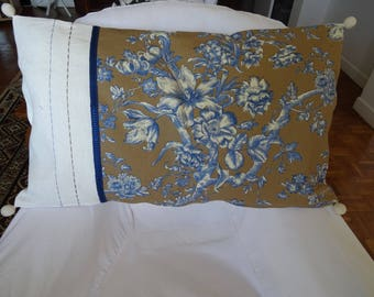 Large cushion cover, vintage, Jouy cloth, linen, rectangular;