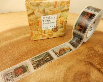 Stamp Washi Tape, World Stamps, Japanese Tape, Planner Decal, 15mm Tape