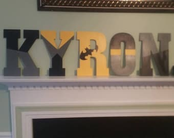 Batman Inspired Hand Painted Wooden Letters