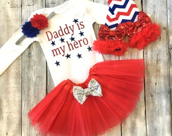 Daddy is my hero outfit, military baby outfit, veterans day outfit, red white blue military outfit, red white blue legwarmers