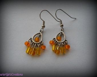 Yellow Chandelier Earrings, Yellow Earrings, Chandelier Earrings, Light Weight Earrings, Small Earrings, Trendy Earrings