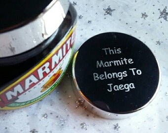 Engraved Marmite or Bovril Silver Plated Personalised Lid - Fits 250g Jar