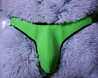 Custom made genuine neoprene mens slip neon green each string a unique pole dance hand-crafted lingerie lingerie hot pants clubwear
