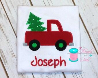 Boys Christmas Truck Shirt - Christmas Shirt - Christmas Tree Applique Shirt - Christmas Applique Shirt - Christmas Truck Applique Shirt