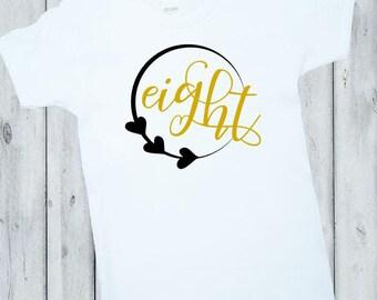 Birthday Girl Shirt, 8th Birthday Shirt, First Birthday Outfit, Gold, Black, White, Eighth, Birthday Shirt, Girl Birthday shirt, Boy, Outfit