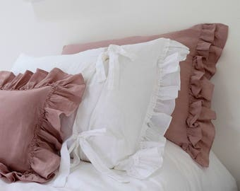 Linen Pillowcase, Ruffled Linen Pillowcases, Linen Bedding, Vintage Style Pillowcase, Shabby Chic Bedding