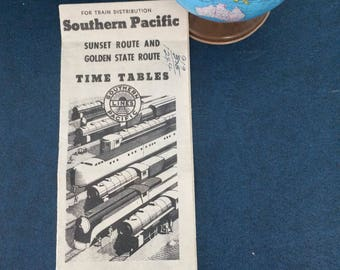 "Vintage ""The Southern Pacific Lines"" Routes Railway Train Timetables Brochure Advertising January 10th, 1943"