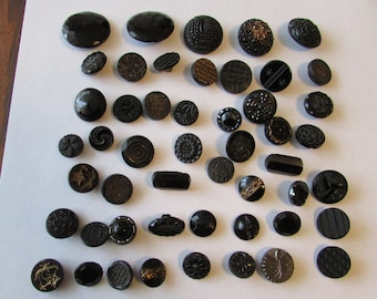 Vintage Lot 50 Black Glass Jet Buttons Designs some Victorian