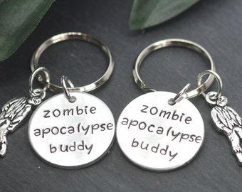 Zombie Apocalypse Buddy, Zombie Apocalypse Buddies, Zombie Gift, The Walking Dead, Best Friend Gift, Zombies, Zombie Keychain, Geeky Gift
