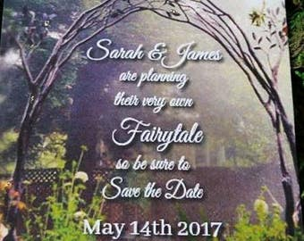 Personalised Fairytale Save the Date  Wedding Cards