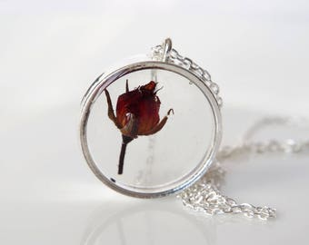 Real flower necklace Rose necklace Terrarium necklace Rosebud pendant Real flower jewelry Pressed flower jewelry mother's day gift for her