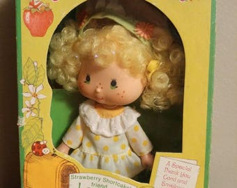 Vintage 1980 Strawberry Shortcake Lemon Meringue Doll in Box with Comb