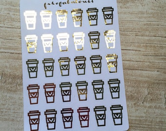 Gold Foiled Coffee Stickers - Planner Stickers