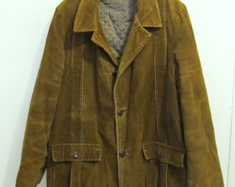 Marked Down 30%@@A Men's Vintage 60's,Quilted Brown BeATNik CORD Coat.XL(44R)