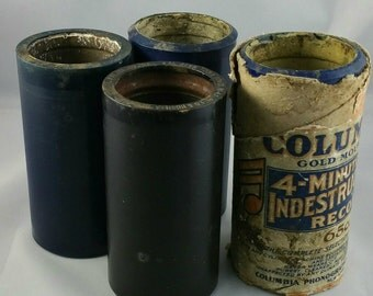 Antique Phonograph Record Cylinders Columbia Records Thomas Edison Watson