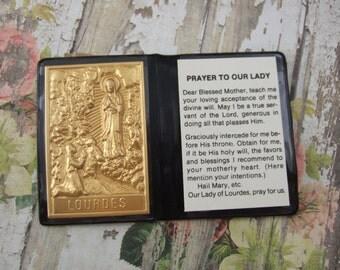 Our Lady of Lourdes pocket prayer folder Catholic shrine with metal picture