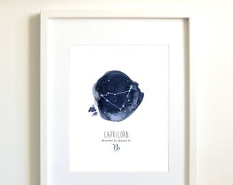 Capricorn zodiac constellation | personnalized gift | Capricorn | astrologic signs art | zodiac signs | poster | sky | indigo | blue | stars