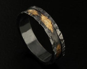 Men's Black Wedding Band, Rustic wedding ring, Unique Men's Wedding Band, Silver and Gold Ring, Promise ring, Engagement Ring, RS-1077