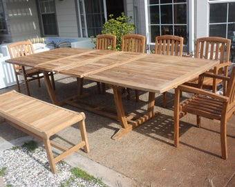 Grade A Teak Patio set, Extendable table with hidden butterfly extensions, backless bench, 6 armchairs that are stackable, Outdoor Furniture