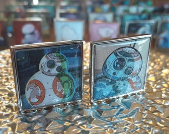 Unique Recycled Comic Book 'BB8' Square Comic Cufflinks - Upcycled & Unique Comic Cufflinks