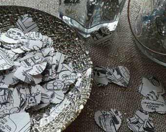 Recycled Vintage Comic Book Heart Confetti - Comic Book Themed Decorations - Table Decorations - Pack Size 250