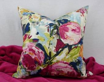 Pink, Navy, Blue, Green, and Yellow Watercolor Floral Decorative Pillow Cover, 18 in x 18 in, 20 x 20 in, 22 x 22 in, Decor Fabric, Denim