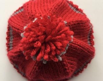 HandKnit Toddler Red Gray Beanie Stocking Cap