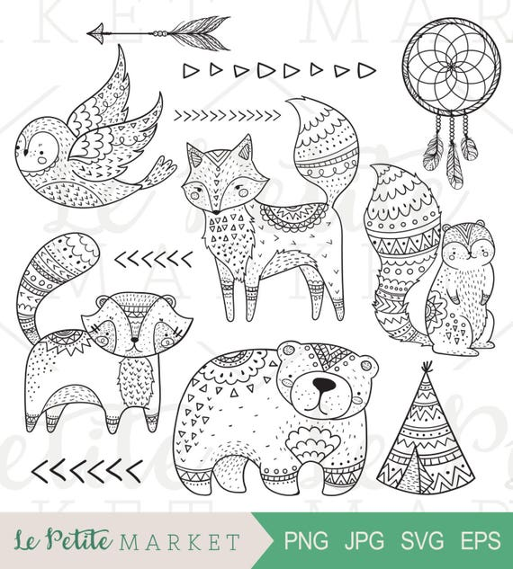 Line Drawings Of Woodland Animals : Doodle tribal woodland clip art animal