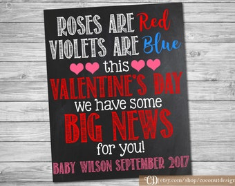 Valentine Baby Announcement Sign / Roses are Red Violets are Blue / Pregnancy Chalkboard / Pregnancy Announcement Sign / Digital File