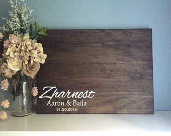 Wedding Guest Book Alternative / Last Name Monogram Painted Rustic Wedding Decor Guest Sign In Wood Guestbook Country Wedding Gift