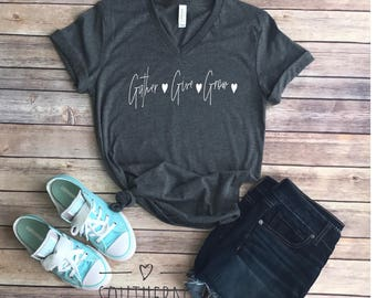 Gather Give Grow V-Neck Tee