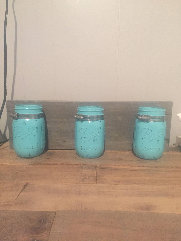 Mason jar organizer bathroom decor farmhouse rustic for Bathroom jar ideas