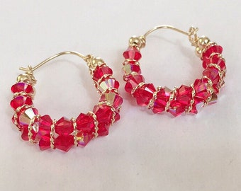 Beaded Swarovski Crystal Hoop Earrings / 14k gold filled / handmade