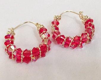 Beaded Swarovski Crystal Hoop Earrings / 14k gold filled / handmade