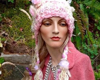 Hand knit ear flap hat, women's knit, pink and cream ear flap hat, bonnet, hand spun art yarn hat, knit ear flap hat with braids, knit hat