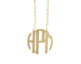 Small Gold Plated Circle Monogram Necklace