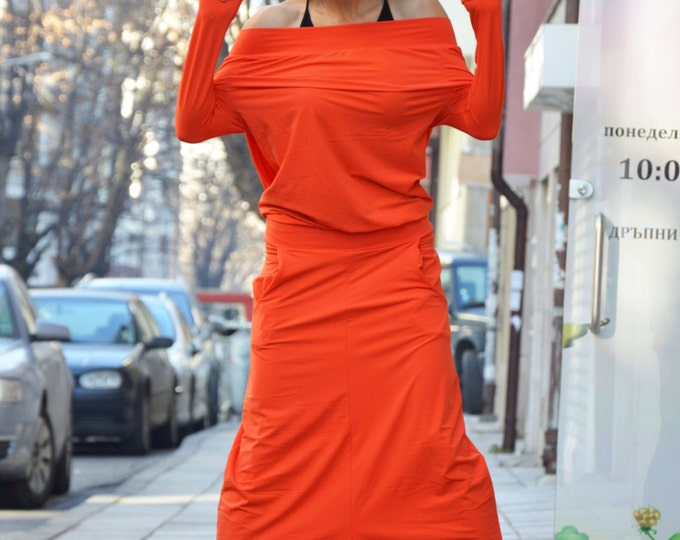 Maxi Orange Jumpsuit, Extravagant Loose Drop Crotch Pants, Casual Harem Overall, Long Sleeves Jumpsuit By SSDfashion