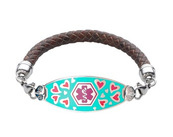 Loving Hearts 316L Medical Alert ID Tag Braided Leather Bracelet-Free Custom Engraving, Wallet Card, Apps-5687PU