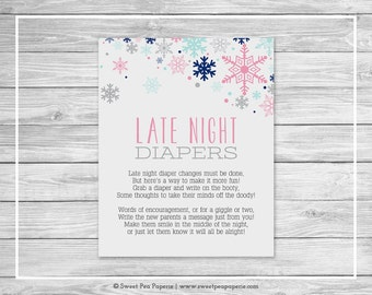 Winter Baby Shower Late Night Diapers Sign - Printable Baby Shower Late Night Diapers - Baby It's Cold Outside Baby Shower - SP141