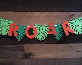 Roar Dinosaur Leaf Banner
