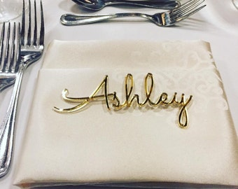 Personalized wedding place cards, Laser cut names, Wedding table place, Guest names, Weddings cards, Laser cut name signs, Place settings
